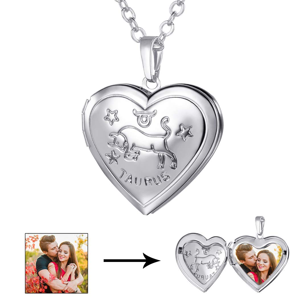 U7 Horoscope Constellation Jewelry Platinum Plated Zodiac Sign Engraved Heart Photo Locket Pendant Necklace (Taurus)