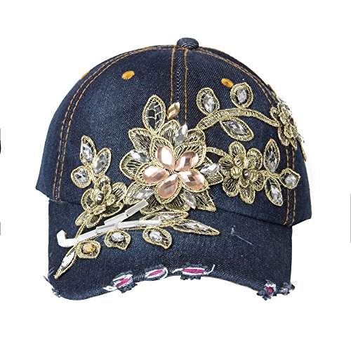 Elonmo Cute Big Flowers Womens Baseball Cap Jewel Rhinestone Bling Hats Jeans Wash Denim Adjustable (Dark (Studded Dark Wash)