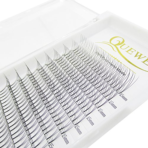 Russian Volume Premade Fans Eyelashes Extension 3D 4D Thickness 0.07/0.10 Curl C/D Length 8-15mm by Quewel (3D-0.10-C, 15mm)