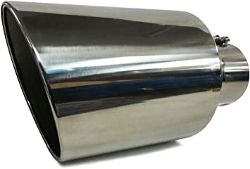"""Car Truck Stainless Steel Bolt On Diesel Exhaust Tip 4/"""" Inlet 8/"""" Outlet 15/"""" Long"""