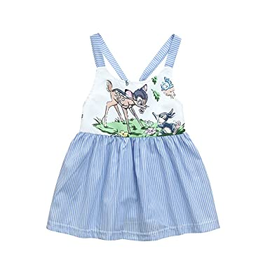 214f2556fb68 Girls Dresses Yamally Baby Girls Cartoon Deer Dress Stripe Strap Dress  Summer Backless Dress 0-