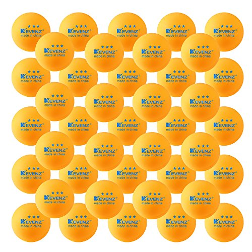50-Pack KEVENZ 3-Star 40mm Orange Table Tennis Balls,Advanced Ping Pong (Practice Tennis Balls Case)