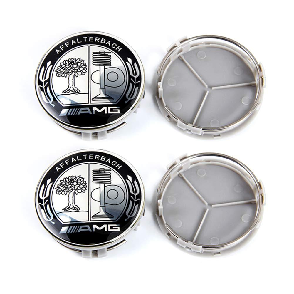 YIKA 4 Piezas para Mercedes 75 mm Hub Cap Cover Logo Car Emblema Rueda Centro para Benz A B C CLA CLS G M R S Center Cap Badge