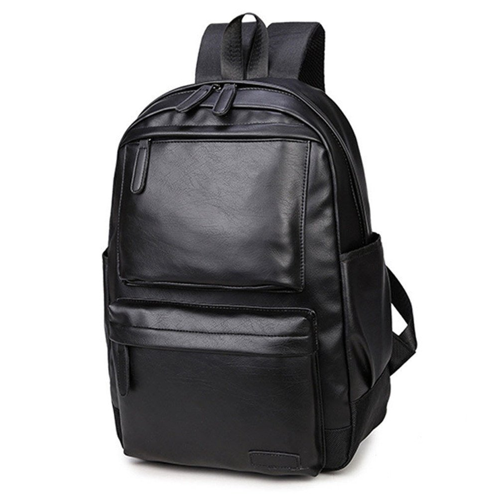 f75d3888004c Amazon.com  UKXMNC Men s Shoulder Bag PU Leather Backpack Casual Computer  Bag Trend Bag Men And Women Universal Black  Sports   Outdoors
