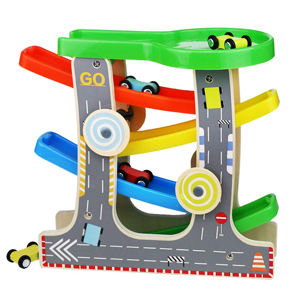 Fajiabao Wooden Race Track Car Ramp Racer Track Playset Toddler Toy with 4 Mini Cars 1 Parking Lot Best Birthday Gifts for 2 3 Year Old Boys Girls