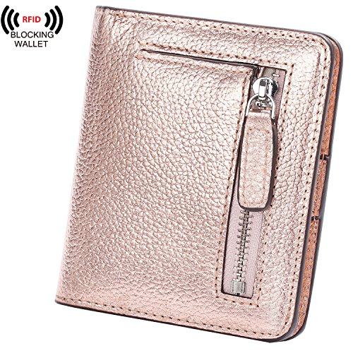 AINIMOER Big Sale Women's RFID Blocking Leather Small Compact Bifold Pocket Wallet Ladies Mini Purse with id Window (Champaign Gold) by AINIMOER (Image #8)