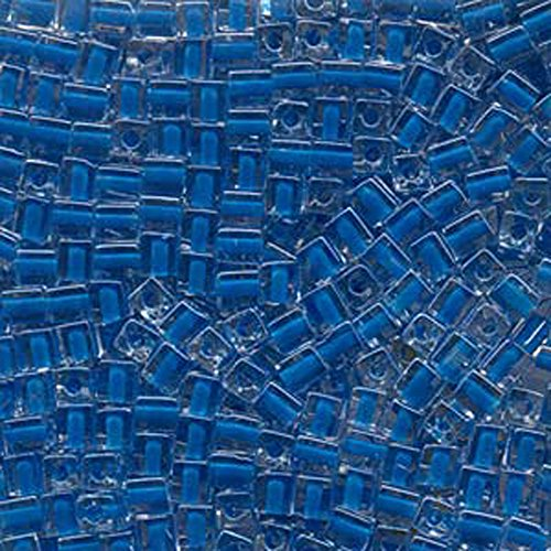 20Gr Clear Blue Lined Miyuki 4mm Square Cube Glass Seed Beads