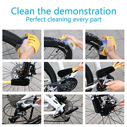 Henryu Bike Cleaning Kit 6-piece Set, 5 Professional Brushes + 1 Coral Fleece Grove,Fit For Cleaning All Bike by Henryu (Image #3)