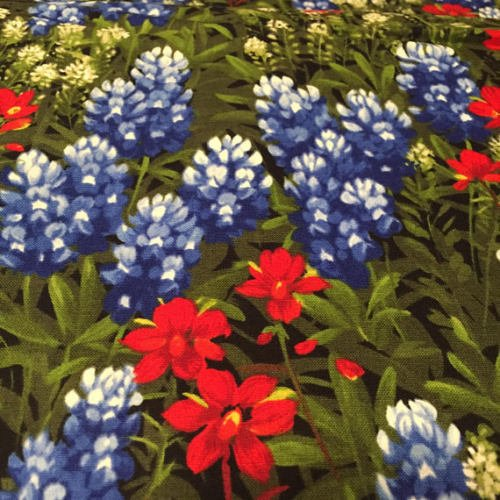 Wildflowers~Bluebonnets Paintbrush~Cotton Fabric by Moda