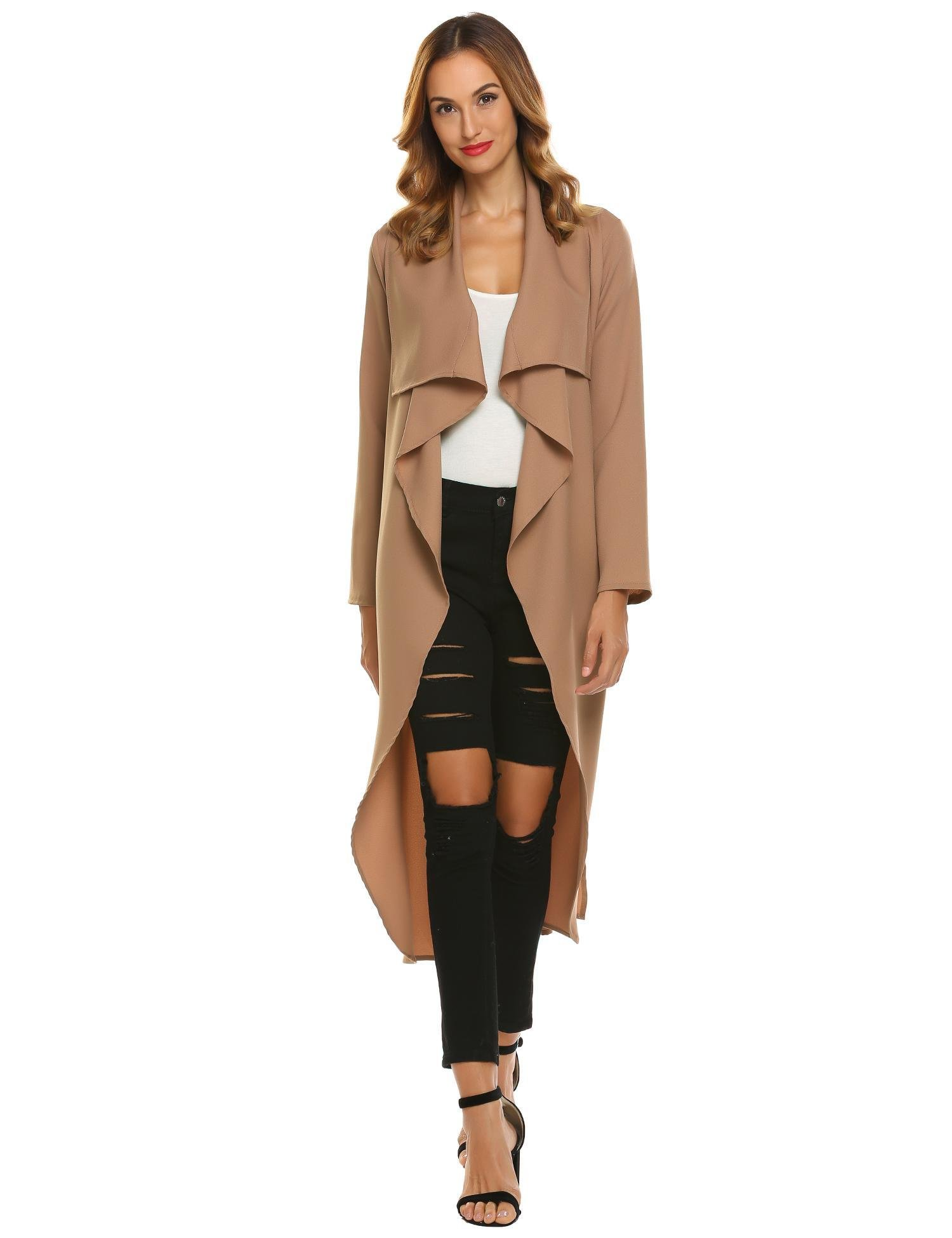 Beyove Women's British Style Lapel Collar Long Sleeve Pockets Trench Coat Long Lightweight Cardigan With Belt Pink XL