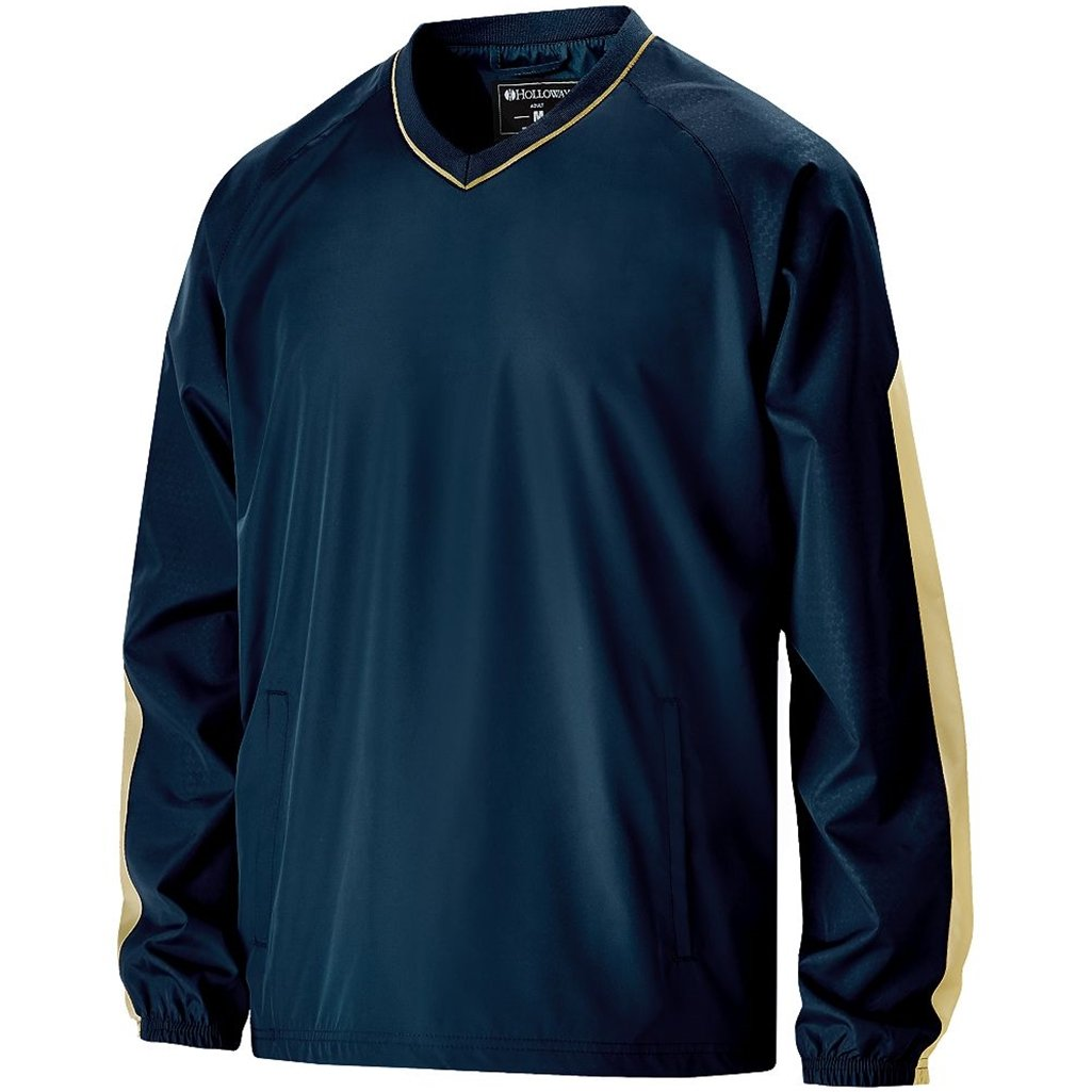 Holloway Youth Bionic Pullover Windshirt (Medium, Navy/Vegas Gold) by Holloway