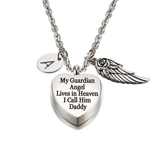 51341fc625 FASJOY My Guardian Angel Lives in Heaven Cremation Jewelry in Memory of  Daddy Urn Necklace with