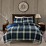 OSD 3pc Cabin Blue Green Plaid Comforter King Set, Color White Red Navy Army Green Madras Plaid Bedding Lumberjack Pattern Hunting Themed, Polyester, Lodge Southwest Solid Color