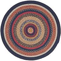 VHC Brands Primitive Flooring - Stratton Blue Round Jute Rug, 3 Diameter