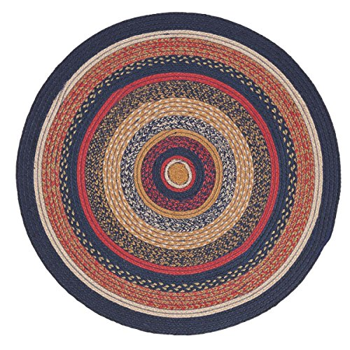 VHC Brands 27499 Primitive Flooring-Stratton Blue Round Jute Rug, 3' Diameter, Navy
