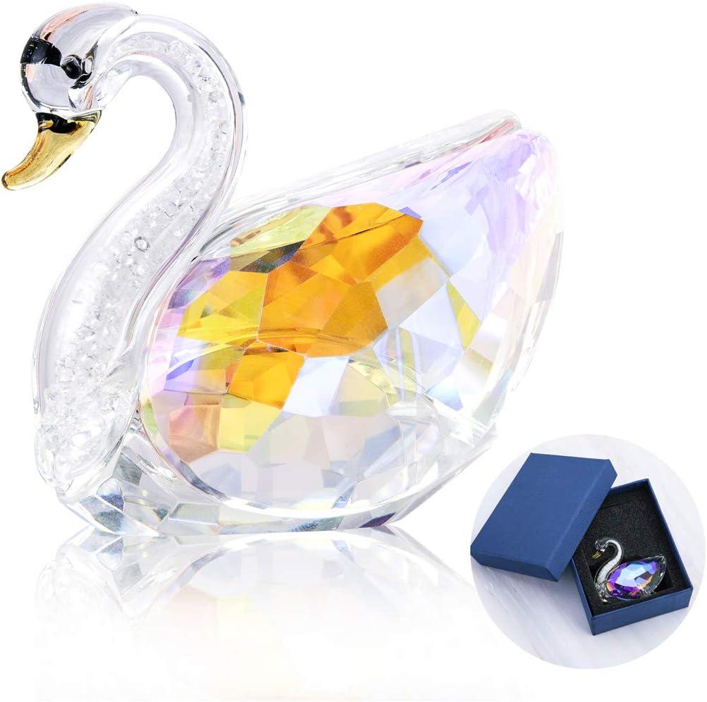 H&D HYALINE & DORA Crystal Cut Swan Figurine,Home Decor Cute Crystal Gift,Rainbow
