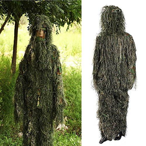 Review Ghillie Suit,OUTERDO Camo Suit Woodland and Forest Design Military Leaf Hunting and Shooting Accessories Tactical Camouflage Clothing Free Size for Airsoft,Wildlife Photography Halloween or Christmas