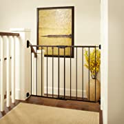 Easy Swing & Lock Gate  by North States: Ideal for standard or wider stairways, swings to self-lock. Hardware mount. Fits openings 28.68  to 47.85  wide (31  tall, Bronze)