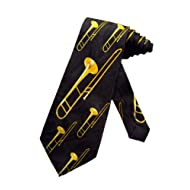 Steven Harris Trombone Music Instrument Necktie - Black - One Size Neck Tie