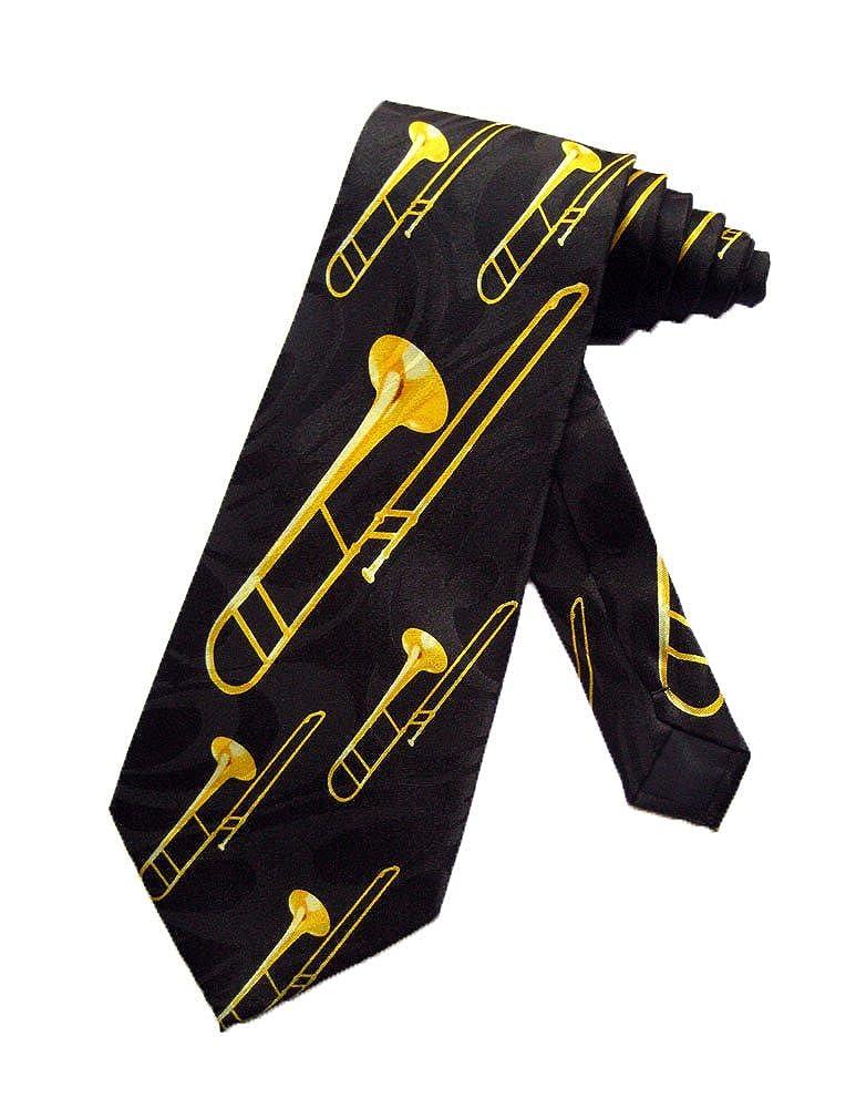 Steven Harris Trombone Music Instrument Necktie - Black - One Size Neck Tie