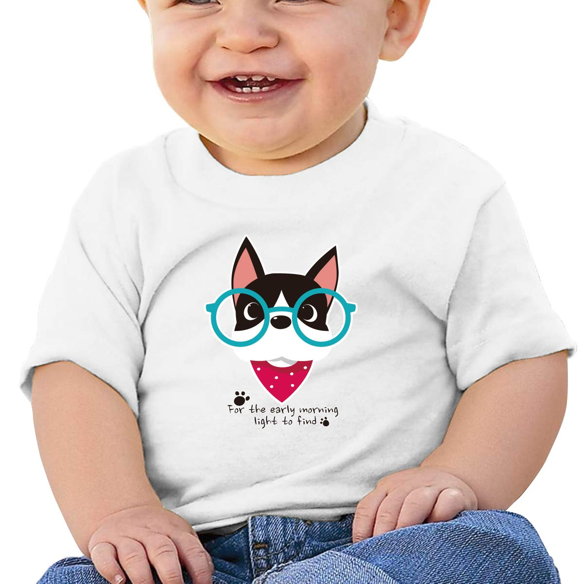 BuecoutesGlasses Dog Toddler//Infant Short Sleeve Cotton T Shirts White