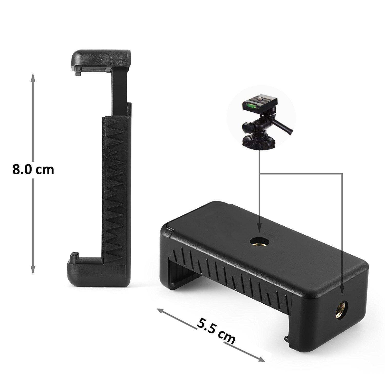 Incluye Universal Soporte Smartphone y Adaptador de Gopro y Control Remoto Bluetooth Negro iPhone Dezuo 107cm Aluminio Tr/ípode M/óvil para C/ámara Compacta Gopro