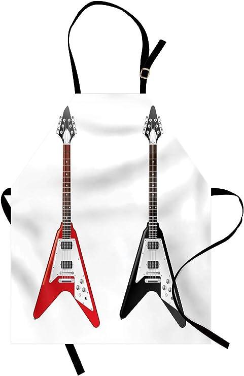 ABAKUHAUS Guitarra Delantal de Cocina, V Diseño En Forma De ...