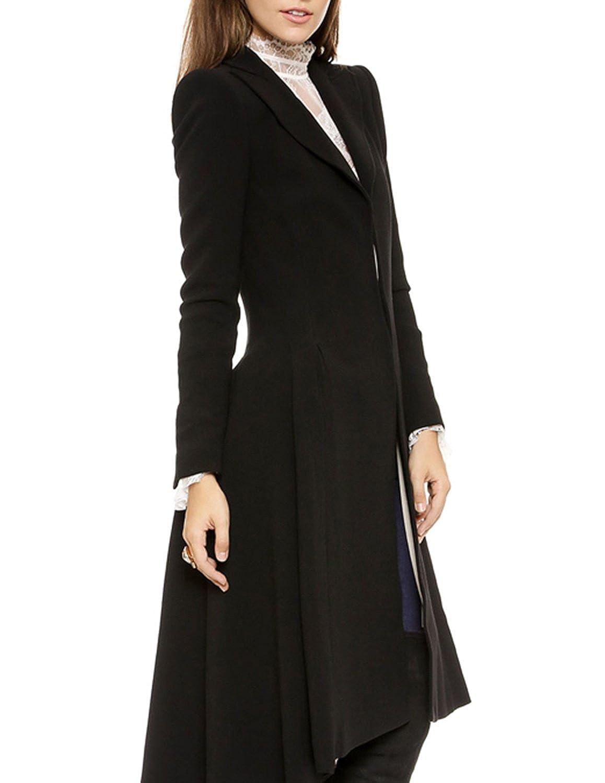 HAOYIHUI Womens Casual Solid Turn Down Collar Dovetail Longline Trench Coat Outwear