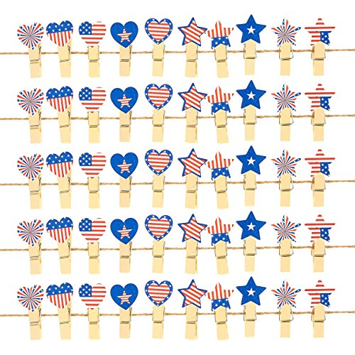 American Flag Christmas Ornament - Mini Wooden Clothespins - 50 Pieces Patriotic Clothespins with Jute Twine, Ideal for Crafts, Photo Clips, Home Decoration, and More, 1.5 Inches in Length