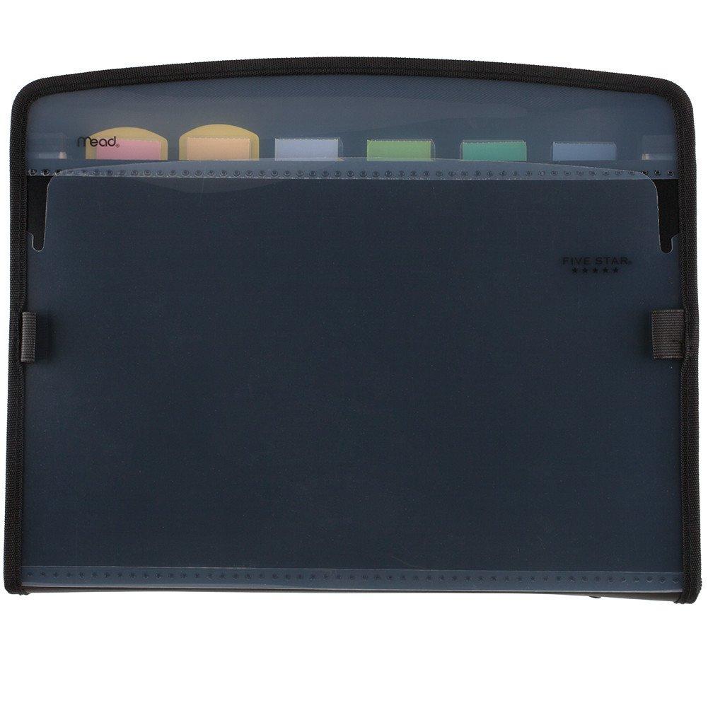 Five Star Expanding File, 7-Pocket Expandable Folder, Zipper Closure, Customizable, Black (72709)