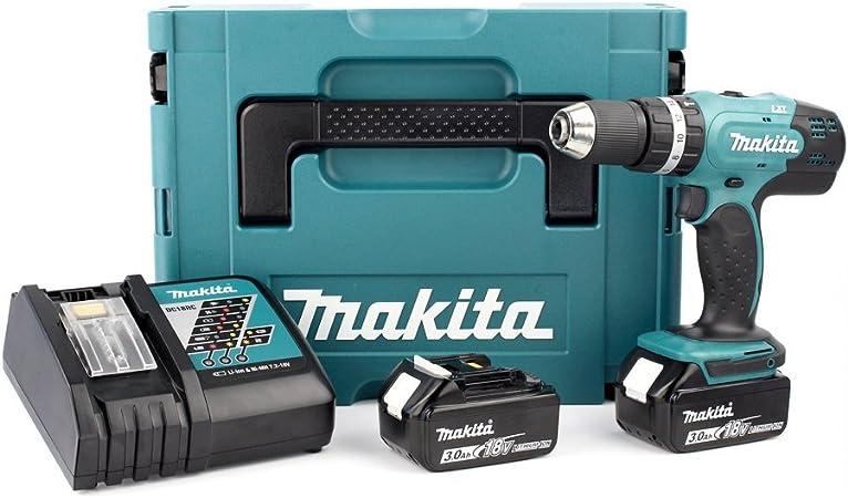 Makita DHP453RFJ Taladro Combinado 2x18V 3Ah Li-ion + maletin ...