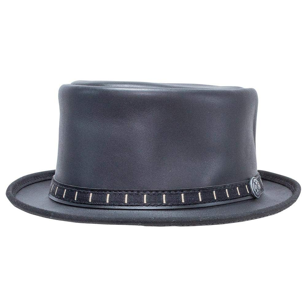 American Hat Makers Folsom by Ashbury Hats Pork Pie Leather Fedora, Black - X-Large