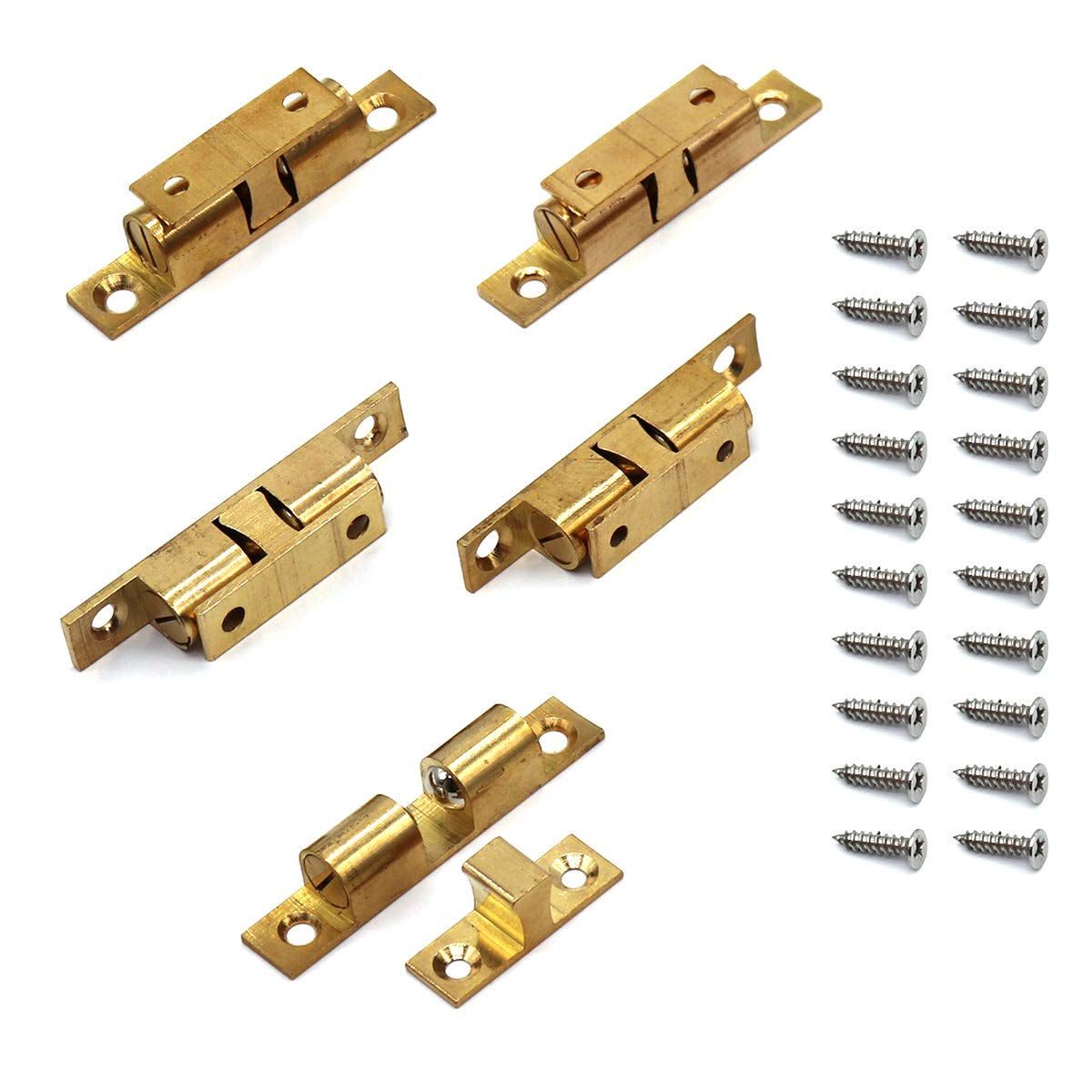70MM Ball Catch Ekatoo Set of 5 Solid Brass Adjustable Double Ball Tension Roller Catch Latch Hardware Fitting for Cabinet Closet Furniture Door with Screws - 2.8 inch (L) x 0.5 inch(W) x 0.5 inch(T)