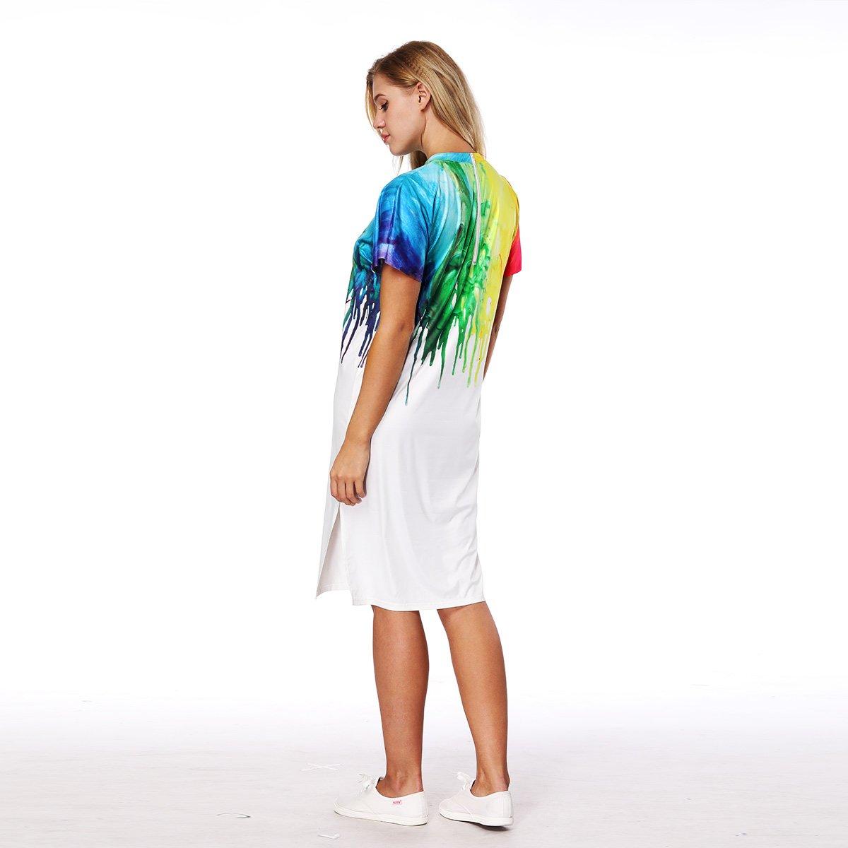 NOVAVOJO Brand Colorful 3D Paint Printing Long Girls T-Shirt Dress Summer Ladies Dress White Color Women Split Dress-XL