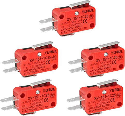 uxcell XURUI Authorized 5Pcs XV-151-1C25 Black SPDT NO+NC Straight Hinge Lever Type Microswitch Action Switches