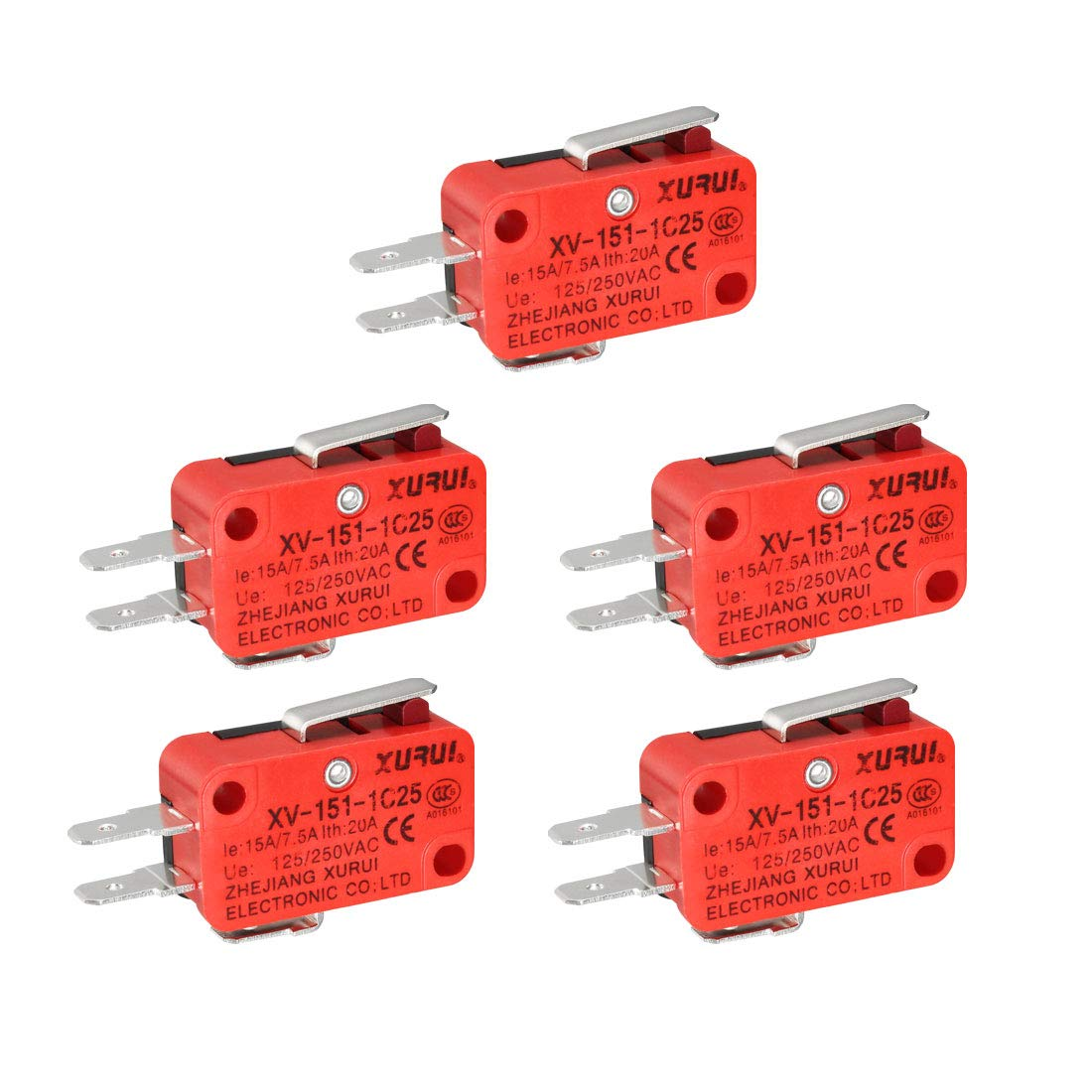 uxcell XURUI Authorized 5Pcs 16A 250V AC 3 Terminals SPDT NO+NC Snap Button Type Micro Switches