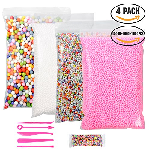 YUEAON 4 pack floam beads slime supplies (45000+2000+1000)pcs 0.08-0.32 inch (2-4-9mm) styrofoam foam beads balls for kids crafts-small+big-colorful-rainbow,white,pink (Rainbow Foam)