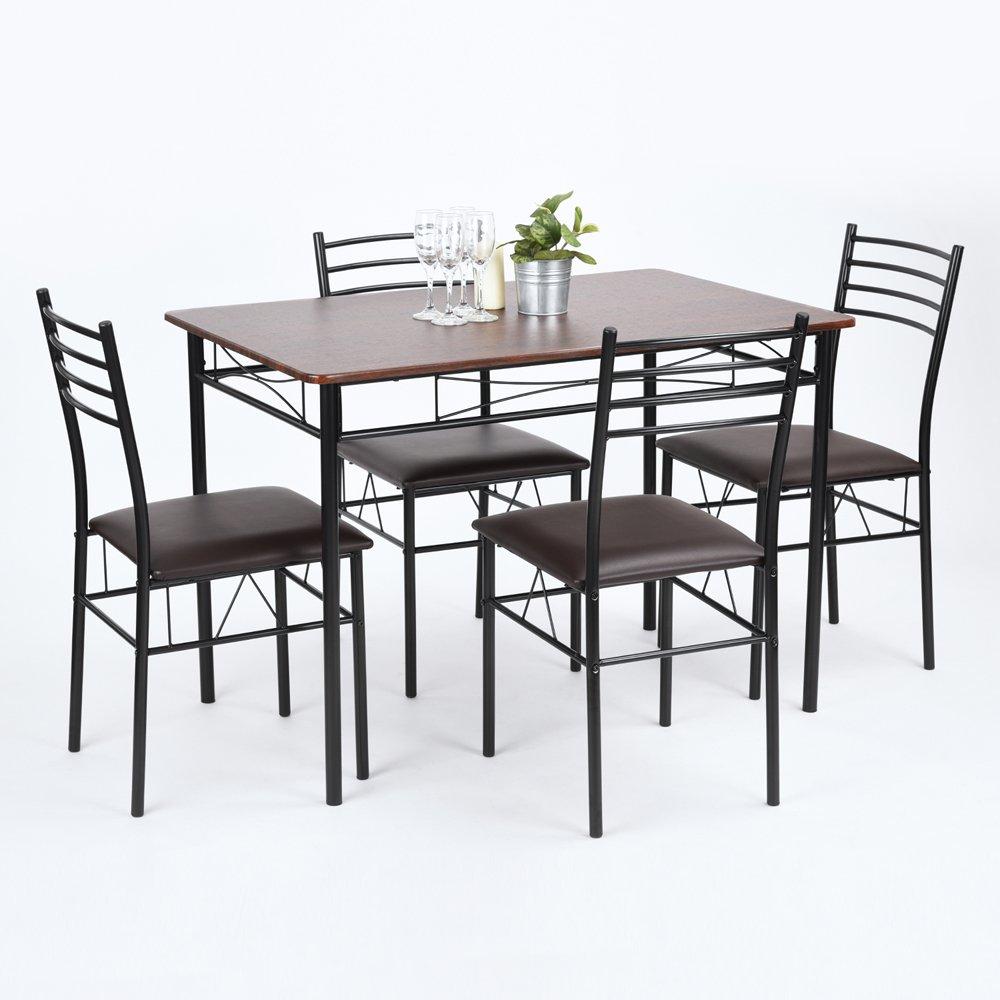 FITATHOME Ensemble Table à Manger 110x70cm 4 Chaises MDF PU Métal Wengé Noir