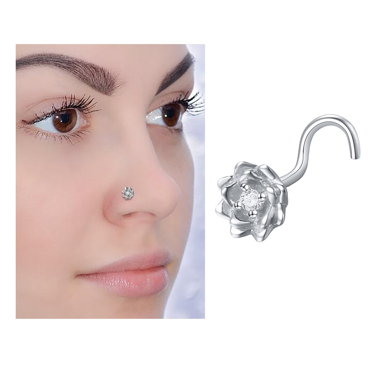 20G Sterling Silver Nose Screw Ring Stud Retainer Labret Rose CZ Flower Nose Piercing Jewelry
