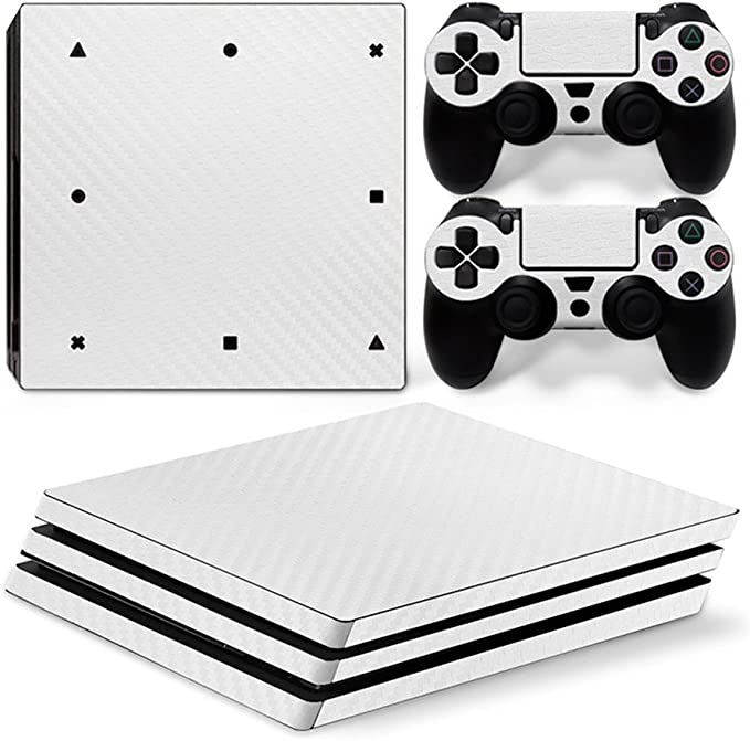 Zhuhaixmy Blanco Carbon Fiber Cuerpo Pegatina Piel Calcomanía por Playstation 4 Pro PS4 Pro Consola+Controladors: Amazon.es: Electrónica