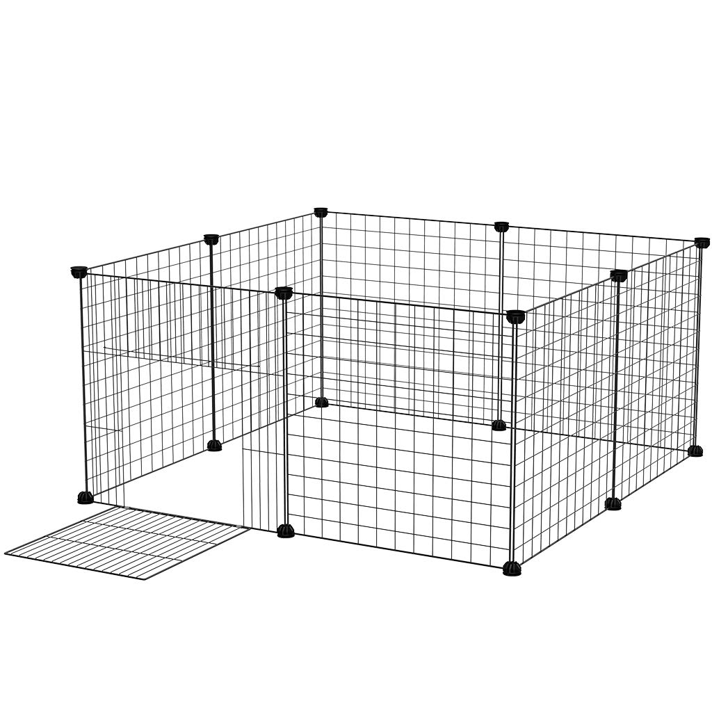 Small Dog Playpen Indoor, Rackaphile Small Animal Pet Playpen with Door DIY Metal Wire Portable Pet Fence Cage Kennel Crate for Cats, Puppy, Rabbit, Ferret, Guinea Pig, Bunny
