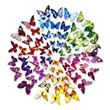 Happy Hours - 72 Pcs 3D Colorful Double Wings Butterfly Wall Stickers / ...