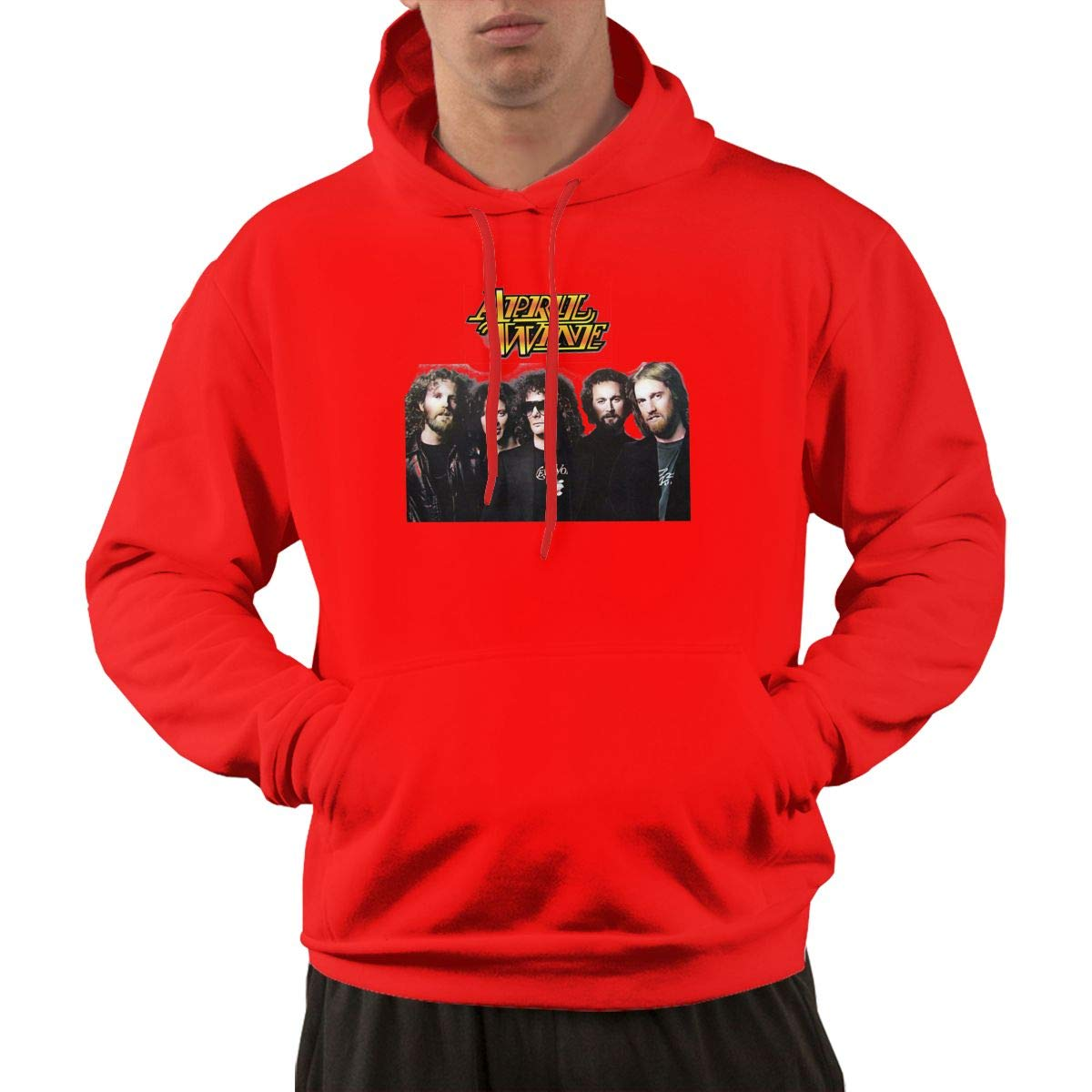 S Pullover Retro Red Print April Wine Music Cool Hooded Shirts With Pocket L
