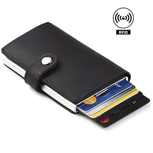 Dlife Credit Card Holder RFID Blocking Wallet Slim Wallet PU Leather Vintage Aluminum Business Card Holder Automatic Pop-up Card Case Wallet Security Travel Wallet (Black)