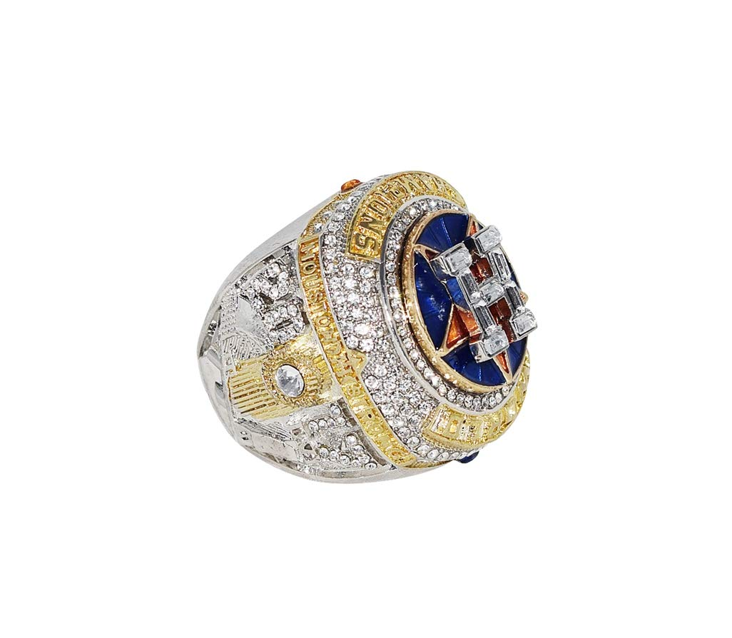 HOUSTON ASTROS (George Springer) 2017 WORLD SERIES CHAMPIONS (First Series Title) Collectible High Quality Replica Silver & Gold Baseball Championship Ring with Cherrywood Display Box