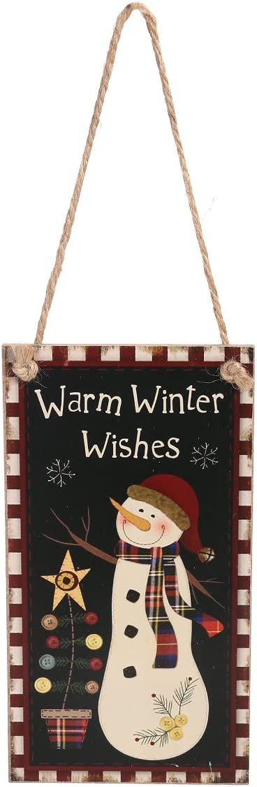 LUOEM Merry Christmas Welcome Sign Hanging Wall Plaque Decoration with Jute Rope Hanger for Party Holidays - Warm Winter Wishes