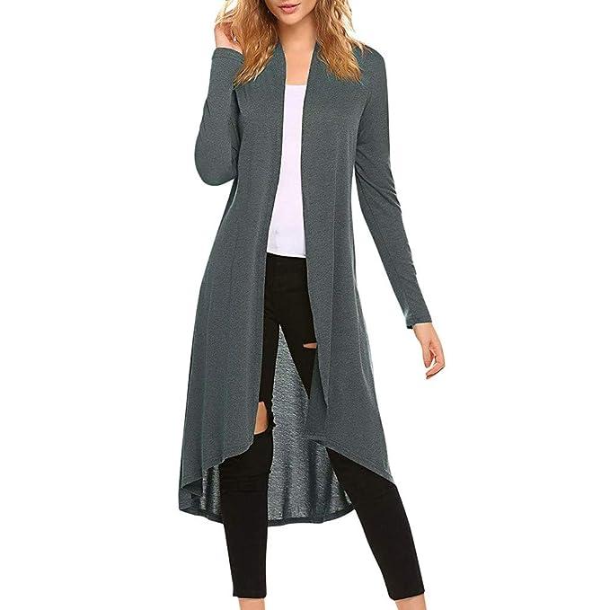 5 Farben Damen Longshirt Cardigan Jacke Strickjacke Langarm Pulli mit Taschen