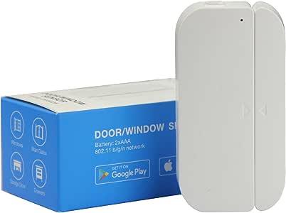 AI Cluster WiFi Door and Windows Sensor Magnets Smart Phone APP Control Doorbell Compatible with Alexa Google Assistant,Wireless Security Alarm Door Open Chime for Home Bussiness Burglar Alert