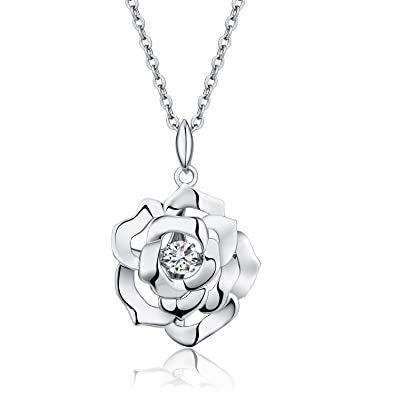 Amazon sexy charming rose flower pendant necklace 18k white sexy charming rose flower pendant necklace 18k white gold plated 925 sterling silver pendant necklace aloadofball Image collections