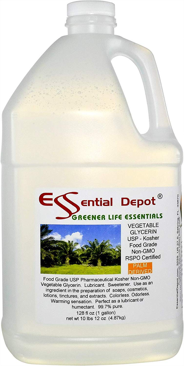 Glycerin Vegetable - 1 Gallon (10.75 lbs or 172oz net wt) - Non GMO - RSPO - Sustainable Palm Based - USP - KOSHER - PURE - Pharmaceutical Grade - safety sealed HDPE container with resealable cap by Essential Depot